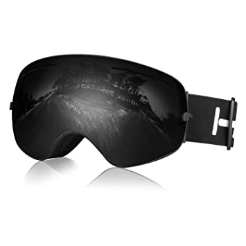 83072382f6bd Hicool Pro Unisex Ski Snow Skate Snowboard Snowmobile Goggle with Mirrored  Lens - Anti-Fog UV Protection Detachable Wide Spherical Goggle Lens (Dark  Smoke ...