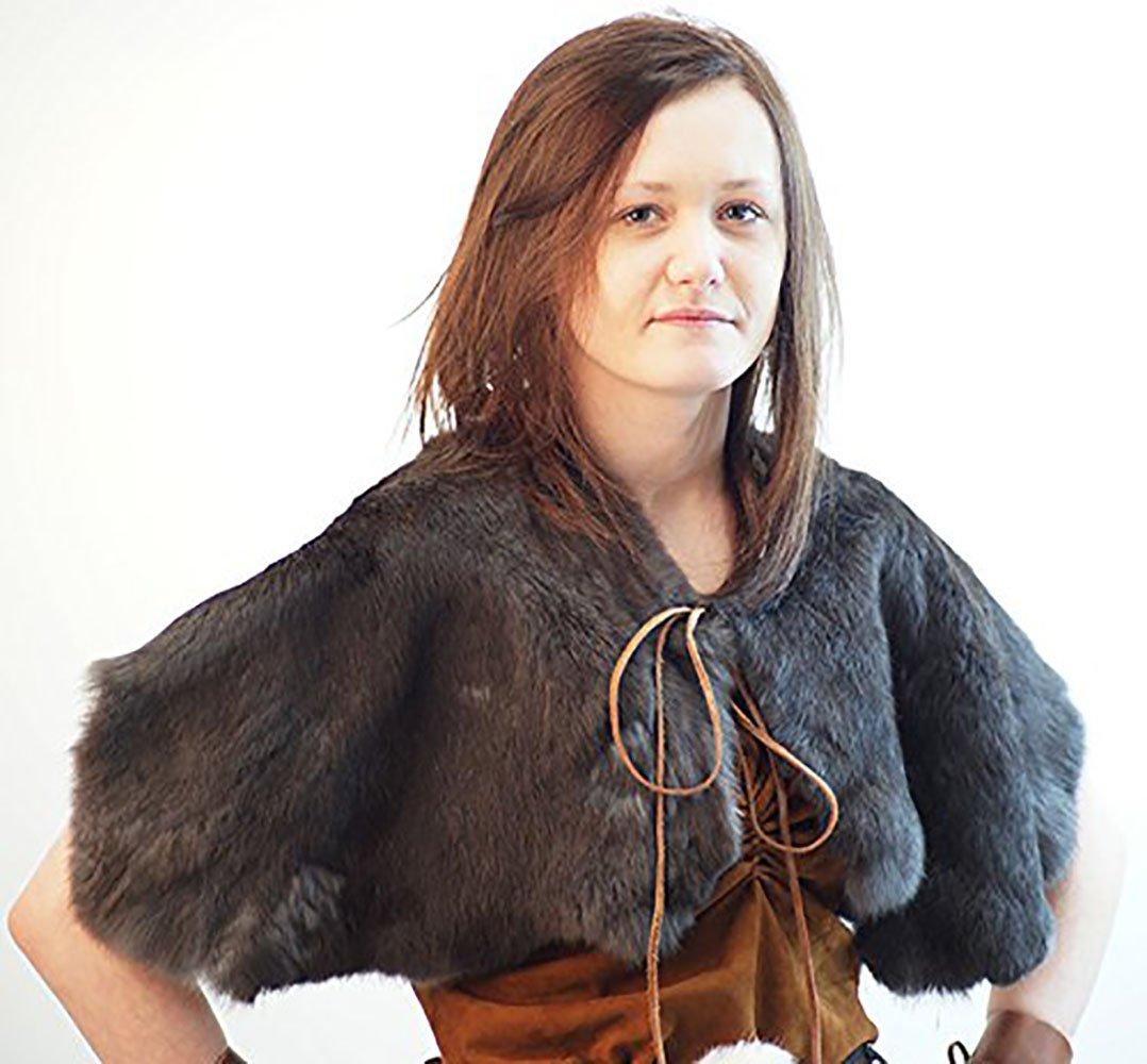 Medieval Gray Rabbit Fur Leather Shoulder Cape