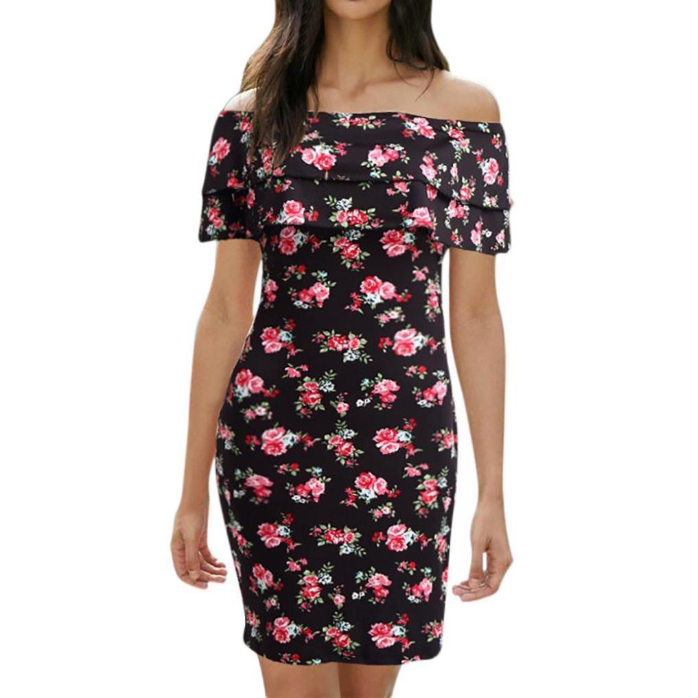 Sunward Women Off Shoulder Tube Floral Print Party Beach Sundress Boho Bodycon Slim Mini Dress (Black, 2XL)