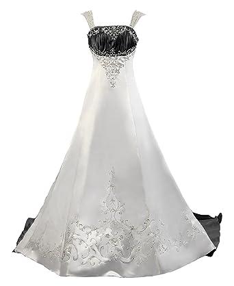 Kmformals Women\'s Straps Vintage Satin Wedding Dress at Amazon ...