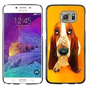 PC/Aluminum Funda Carcasa protectora para Samsung Galaxy S6 SM-G920 Basset Hound Drop Pendant Ear Dog / JUSTGO PHONE PROTECTOR