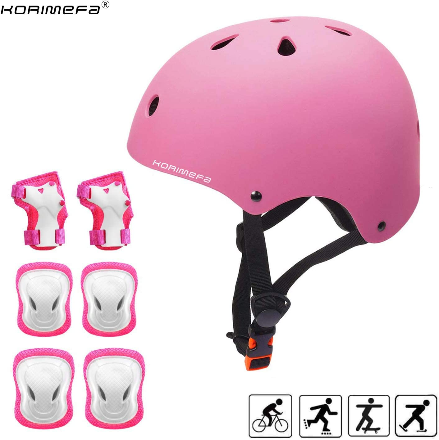 KORIMEFA Casco Infantil Equipo de Protección Patinete con Casco Adjustable certificación CE Rodilleras Coderas para Bicicleta Monopatín y Deportes Extremoscon de 3 a 13 años