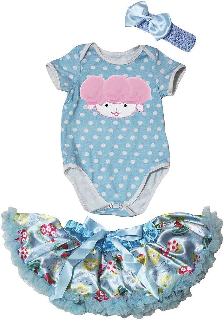 Petitebella Sheep Blue White Dots Romper Blue Easter Eggs Baby Skirt Nb-12m