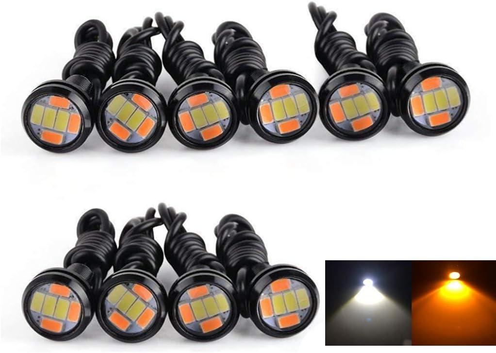 JKLcom Eagle Eye LED Light Lamp White 12V 9W LED Eagle Eye Lamp DRL Fog Light Motorcycle Light Daytime Running DRL Tail Backup Light,18MM,12V,9W,10 Pack
