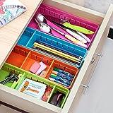 EYLEER Drawer Organizer, Adjustable Drawer Cabinet Storage Organizer Bins Flatware Utensil Holder Utensil Tray Storage Units for Home Kitchen Storage Organization, Set of 4 (Blue)