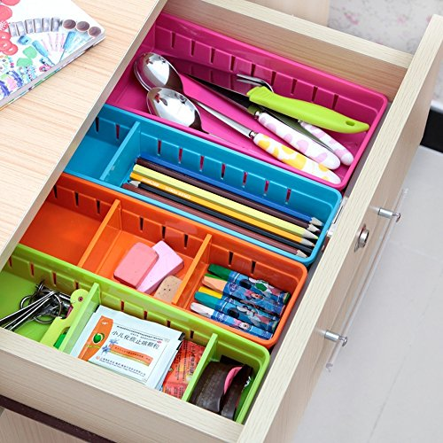 Drawer Organizer,SmartMYhome Adjustable Draw Cabinet Storage Organizer Bins Flatware Utensil Holder Utensil Tray Storage Units for Home Kitchen Storage Organization, Set of 4 (Plastic Draw Divider)
