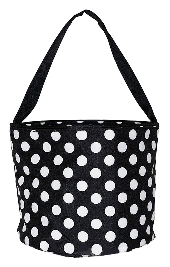 Personalized Childrens Fabric Bucket Tote Bag - Toys- Easter (Blank, Black White Dots)