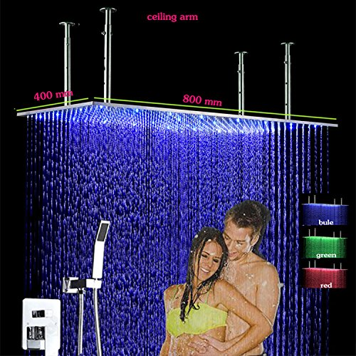 Gowe Hot Cold Bath Shower Mixer Faucet 400x800 Wall Mount Stainless Steel LED Big Rain Shower Head and HandShower Conceal Shower Set 4