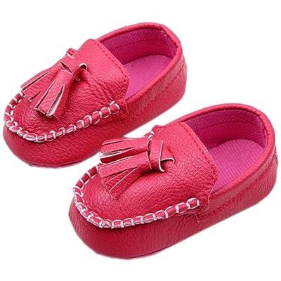 bettyhome Unisex Baby Newborn Red Tassel Soft Sole Infant Toddler Prewalker Sneakers (0-1 Year)