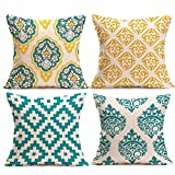 Danhjin 4PC Pillow Cases BOIHO Style Linen Sofa waist Cushion Cover For Home Decor, 18'' x 18'' 45cm x 45cm (C)