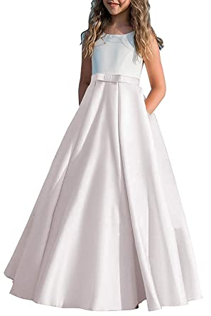 58446382d hengyud Long Junior Bridesmaid Dress 7-16 Blush Prom Dresses for Girls  Satin Floor Length