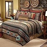 4 Piece Red Brown Southwest Comforter Full Set, Native American Cultural South West Bedding, Tribal Geometric Motifs, Indian Aztec Themed Pattern, Aztec Western Desert Colors, Tan Beige Burgundy Blue