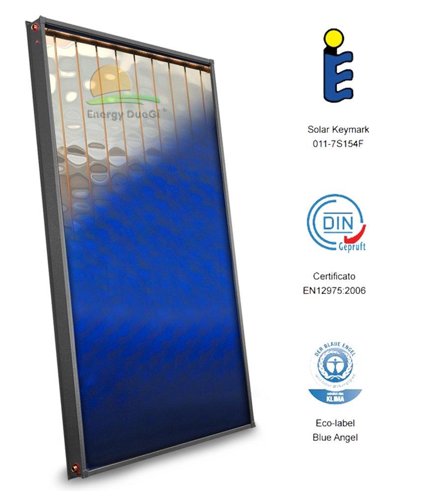 Panel solar térmico de alta eficiencia, producción de agua caliente sanitaria, circulación forzada, placa realzada de aluminio y cobre, tubos interiores de ...