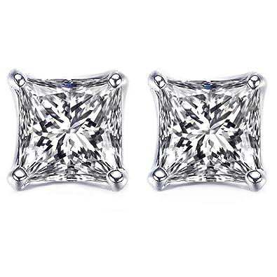 483db3b48 Amazon.com: LicLiz Sterling Silver Princess Cut Cubic Zirconia Stud ...