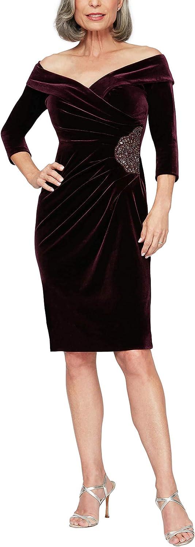 Alex Evenings Womens Short Off The Shoulder Velvet Dress (Petite and Regular)