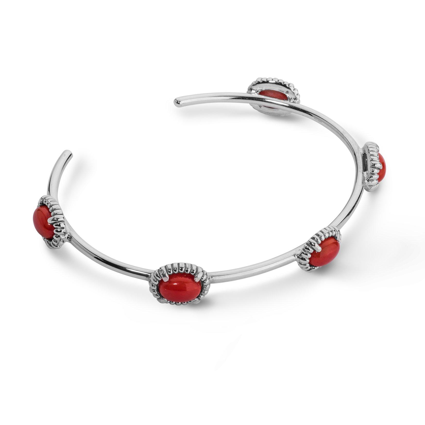 JEN Sterling Silver & Red Coral Five Stone Cuff Bracelet