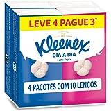 Kleenex Pack Lenço de Papel Folha Tripla Pacote Leve 4 Pague 3 Unidades de 10 Lenços Cada, Kleenex, 21Cm X 21Cm