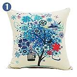 Beautiful Flower Tree Cotton/Linen Decorative Pillow Cover ,4343cm