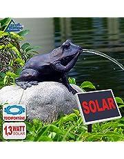 FUENTE DECORATIVA EXTERIOR - FUENTE SOLAR para jardín - FUENTE de AGUA DECORATIVA - PANEL SOLAR BOMBA PARA ESTANQUE - FUENTE SOLAR DECORATIVA - ''Rey del cuento'' Divertida fuente en forma de una juguetona rana! - KIT PANEL SOLAR para jardin con juego de agua