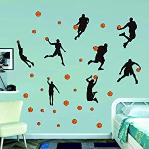 Watercolor Basketball Wall Decals Sport Player Wall Stickers Peel&Stickers Wall Art for Boys Teens Living Room Bedroom Playroom Decor