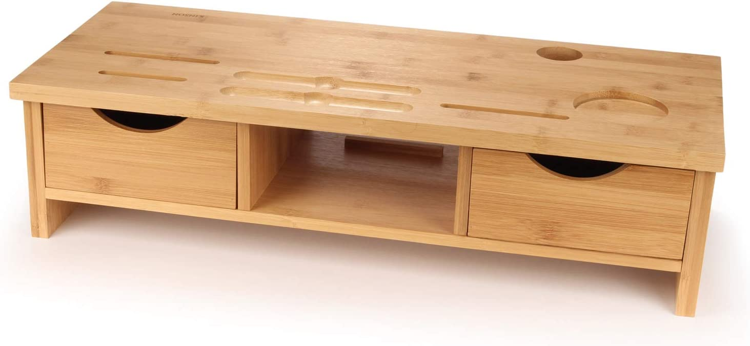 Kinson Bamboo Monitor Stand, Laptop Riser Computer Desk with Drawers, Shelf Storage and Organizer Slots - Single Unit