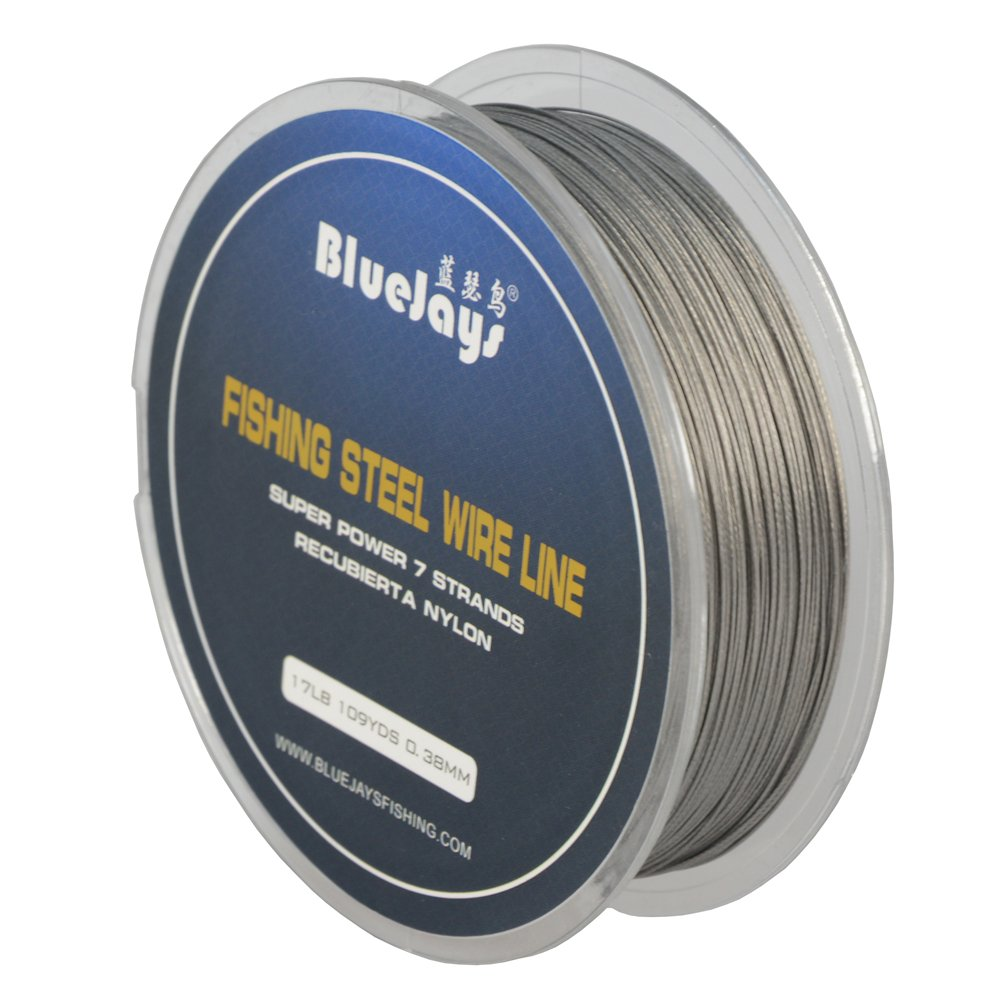 0.38mm 109YDS 17 pound Fishing steel wire lines Fishing Wire Nylon Coated 1x7 strands Stainless Steel Leader Wire BlueJays mall