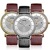 BUREI Men's Fashion Wrist Watches Ultra-thin Analog Quartz Datejust Dial with Leather Strap