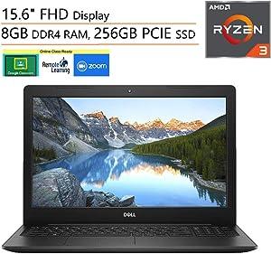 "Dell Inspiron 15 3000 15.6"" FHD Laptop Computer, AMD Ryzen 3 2200U (Beat i5-7200U), 8GB DDR4, 256GB PCIe SSD, Microphone, Webcam, Online Class Ready, Windows 10, iPuzzle 500GB External Hard Drive"