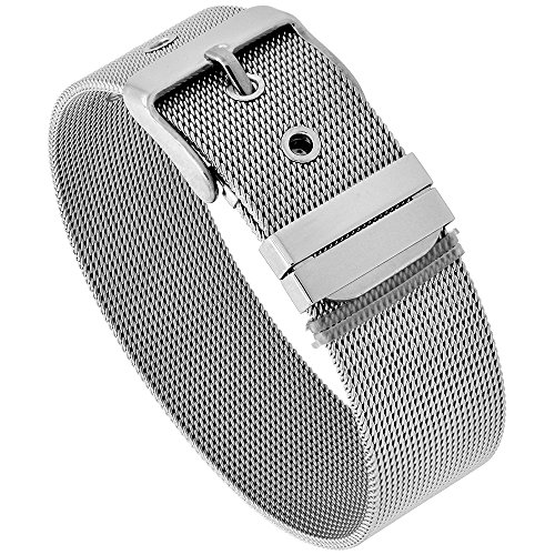 Sabrina Silver Stainless Steel Mesh Bracelet for Women Belt Buckle Clasp 18 mm wide, fits up to 8 inch wrist