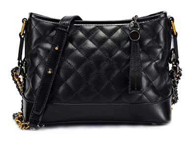 4f2d11055add Women Shoulder Bag Designer Quilted Genuine Leather Handbag Purse (Black)