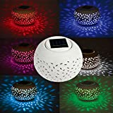 TOPCHANCES Premium Quaility Filigree LED Solar Color Changing Ceramic Powered Globe Ball Table Light Garden Lamp