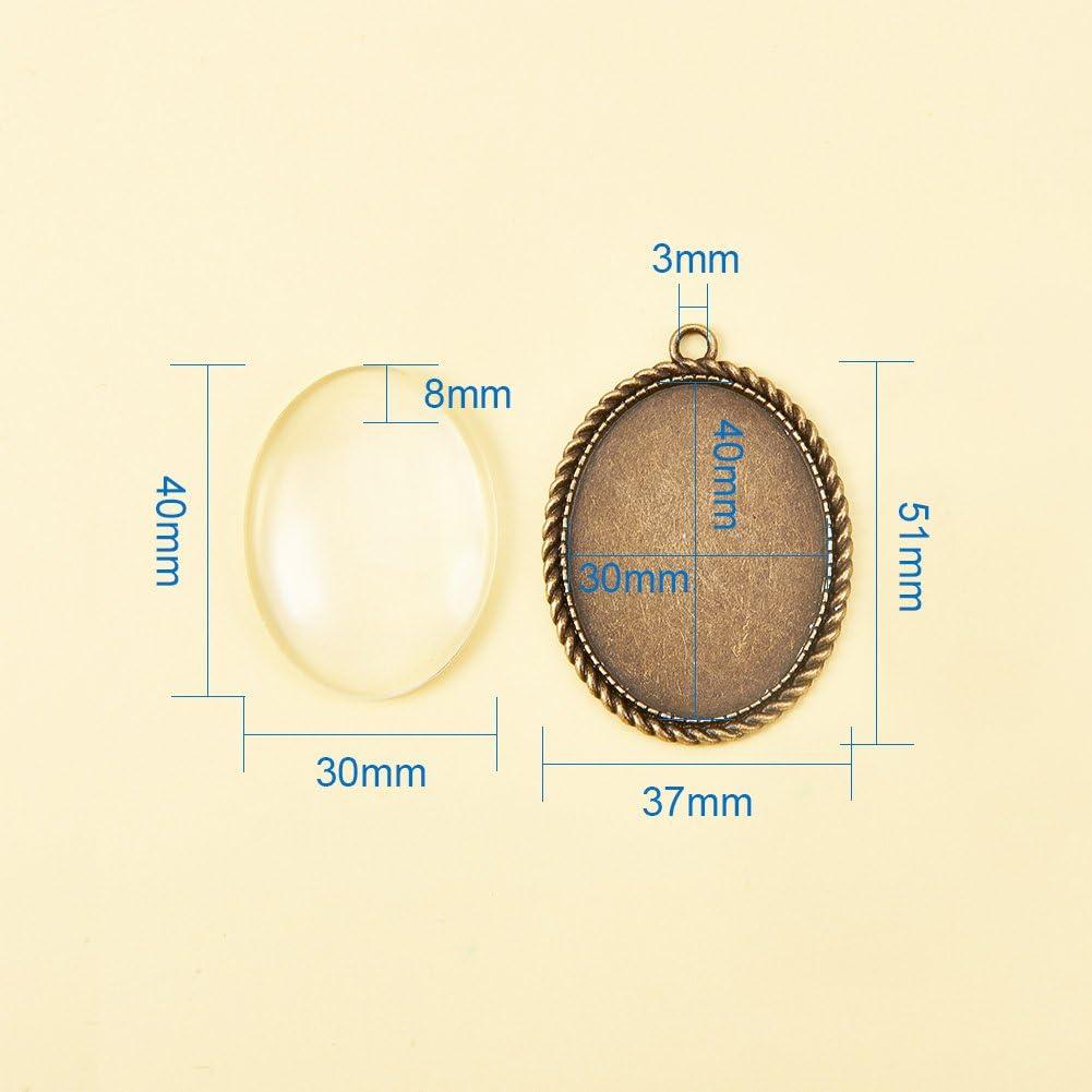 PandaHall 10 St/ück 12mm Runde Transparent Klar Glas Cabochon Kuppel Fliesen mit Anh/änger Tabletts Abdeckung Fotoanhanger Herstellung Antique Bronze