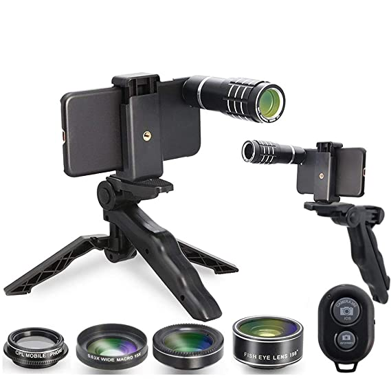 brand new 993b5 0dc17 MY MIRACLE Camera Shutter Remote and Lens Kit for iPhone  6/6s/6plus/6splus/7/7plus/8, 12x Telephoto/CPL/Fisheye/Macro + Wide Angle  Lens/Tripod/Tripod ...