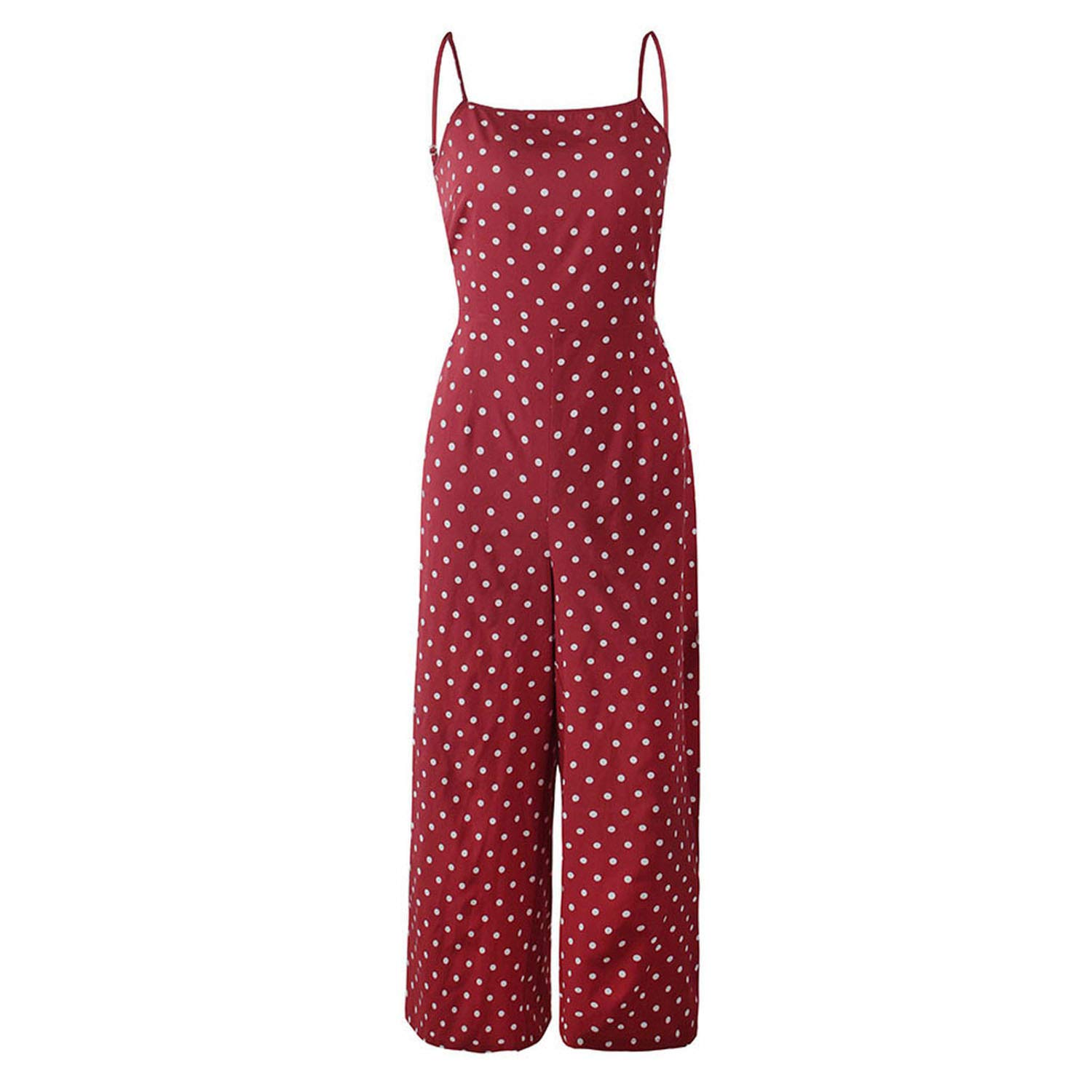 GALAXY-DF Womens Polka Dot Holiday Wide Leg Pants Long Jumpsuit Fashion Sleeveless Backless Strappy Playsuit De24