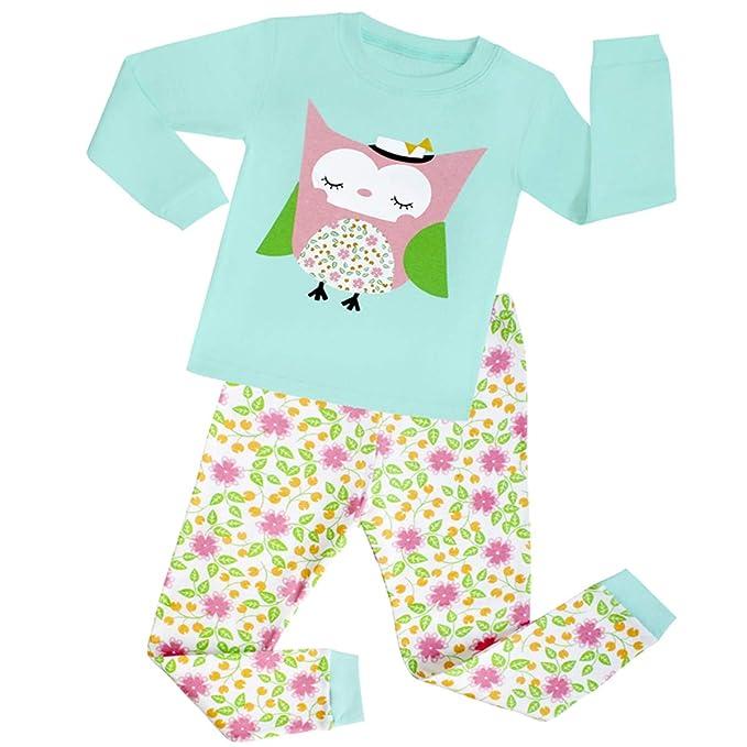 16f6650d5ad4c JAJADO Girl Long Sleeve Animal Owl Pajamas Set Kids Cotton Pyjamas  Sleepwear 2 Pieces Pjs for