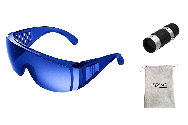 POSMA SGG-020B Golf Ball Finder Hunter Retriever Glasses + Bundle set Golf Rangefinder High Definition Mini Monocular Pocket Scope + flannel storage bag/gift bag x 1pc