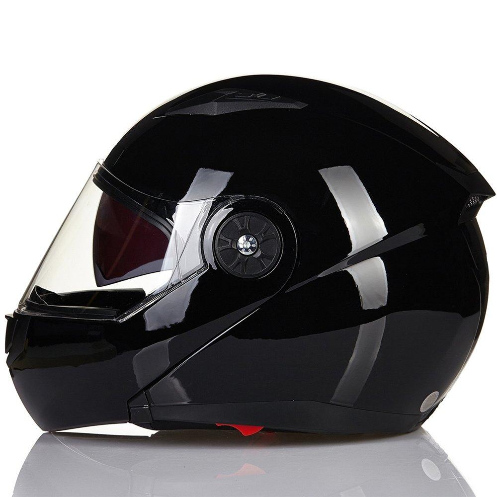 ILM 8 Colors Motorcycle Modular Flip up Dual Visor Helmet DOT L, Gloss Black