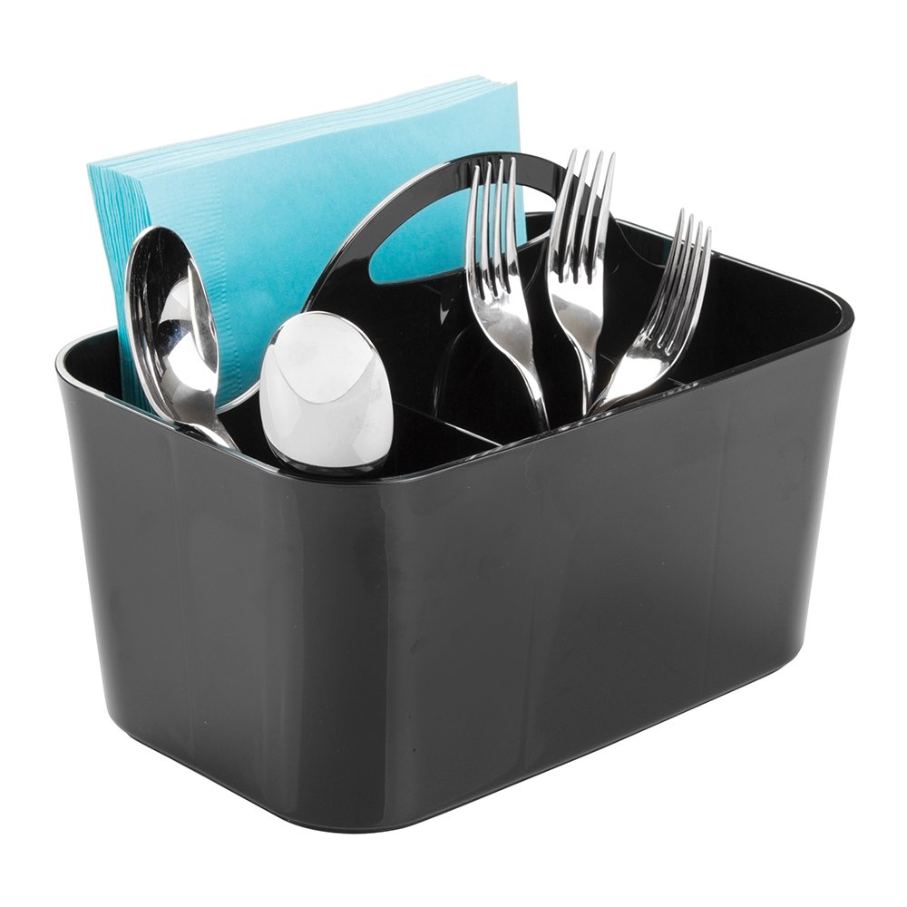 mDesign Plastic Cutlery Storage Organizer Caddy Bin - Tote with Handle - Kitchen Cabinet or Pantry - Basket Organizer for Forks, Knives, Spoons, Napkins - Indoor or Outdoor Use - Black