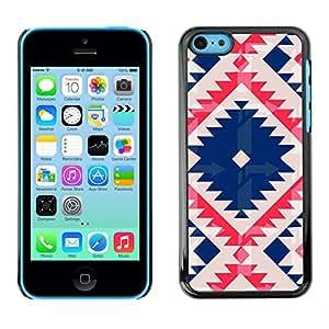 For Apple iPhone 5C Case , Native Tribal Pattern Quilted Blue - Diseño Patrón Teléfono Caso Cubierta Case Bumper Duro Protección Case Cover Funda