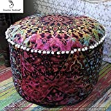 GANESHAM Indian Mandala Hippie Bohemian Tapestry Pouf Ottoman Handmade Pouf Cover, Decorative Round Floor Pillow Foot Stool Seating Pouf Home Decor Chair Cover Bohemian Decor 15×24 (Cover Only)