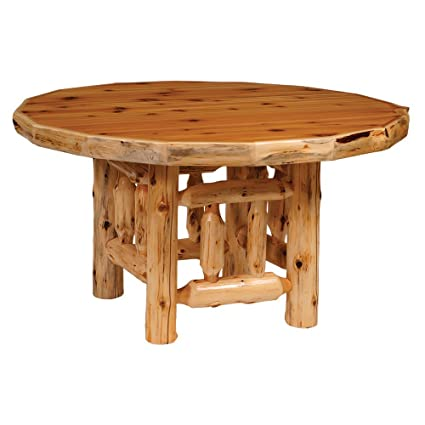 42u0026quot; Counter Cedar Round Log Dining Table Real High Quality Wood  Western Lodge