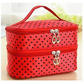 04e1185e19 Amazon.com   Polka Dot Two-Layer Cosmetic Makeup Bag