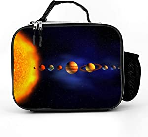 Solar System Planets Arround Sun Universe Space Lunch Box with Padded Liner, Spacious Insulated Lunch Bag, Durable Thermal Lunch Cooler Pack for Boys Men Women Girls Adults