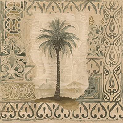 Palm Trees in Vintage Frames Damask Pattern Wallpaper Border Retro Design, Roll 15' x 7''