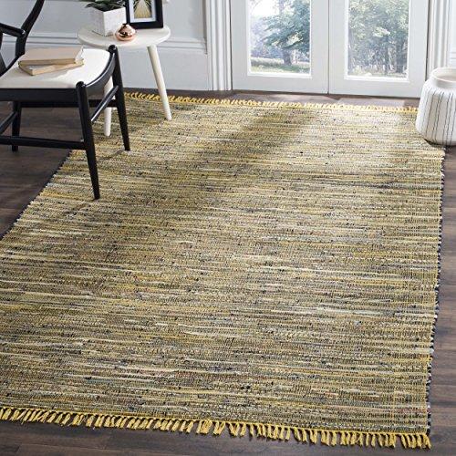 Safavieh Rag Rug Collection RAR121H Hand Woven Yellow and Multi Cotton Area Rug (8' x 10')