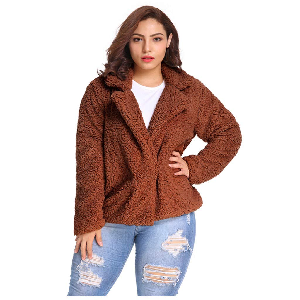 Shusuen Women's Coat Casual Lapel Fleece Fuzzy Faux Shearling Zipper Coats Warm Winter Oversize Outwear Jackets Coffee by Shusuen_Clothes