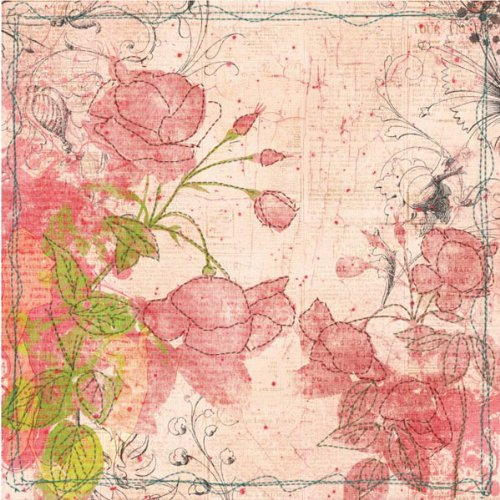 PRIMA FLOWERS Art-Stitched Mulberry Paper 12-Inch by 12-Inch, Full Bloom Art Stitched Mulberry Paper