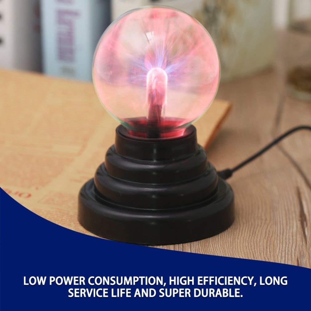 Leoboone USB Magic Crystal Globe Luz de escritorio Bola de plasma Esfera L/ámpara de rel/ámpago Transparente Fiesta en casa L/ámpara de noche Bola Luz de noche