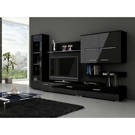 c4a1e315510 JUSTyou Snew Muebles de salón Comedor Modulo de Pared Color  Blanco Negro