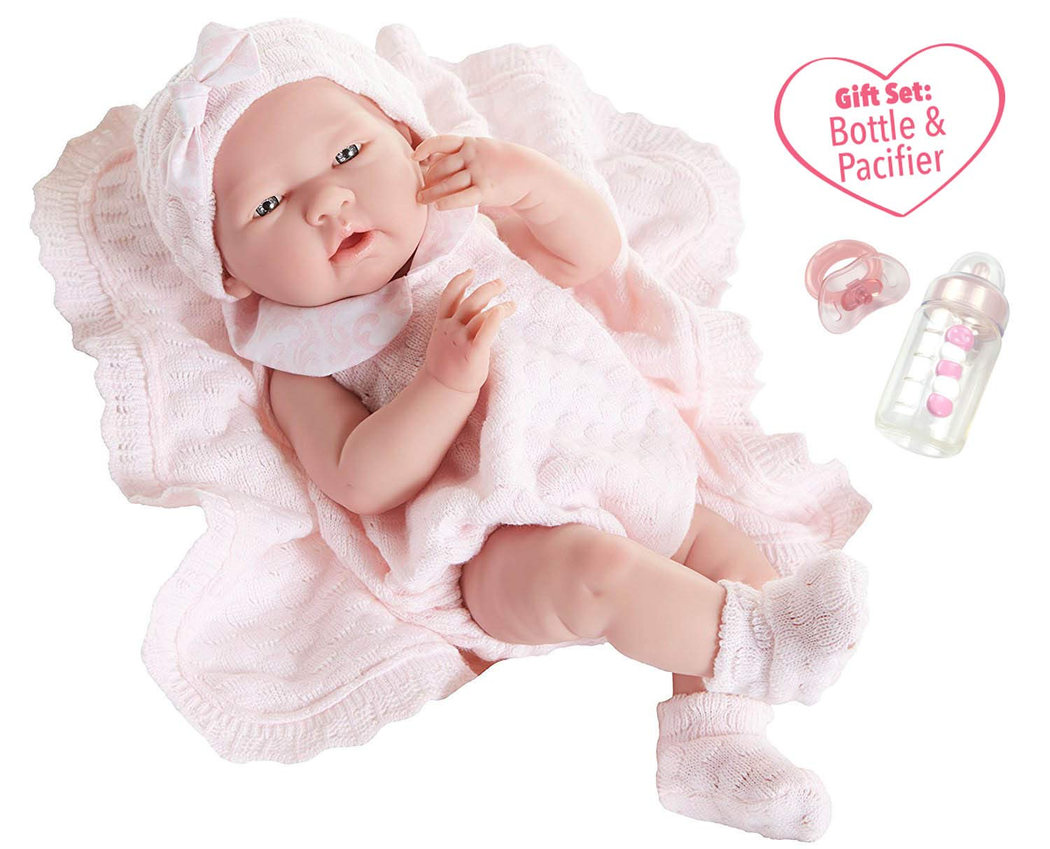 """JC Toys La Newborn All-Vinyl-Anatomically Correct Real Girl 15"""" Baby Doll in Pink Knit Outfit and Accessories, Designed by Berenguer."""